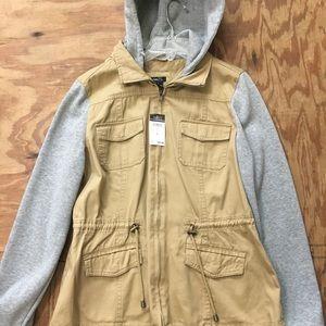 Khaki Hooded Jacket w/ Gray Sleeves (Never Worn)
